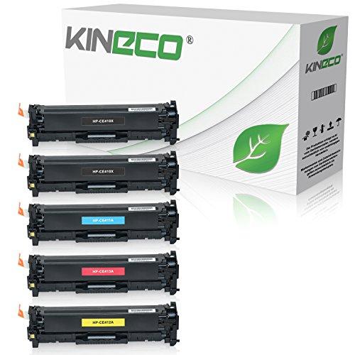 5 Kineco Toner kompatibel zu HP CE410X CE411A CE412A CE413A Laserjet Pro 300 Color M351a, MFP M375nw, Laserjet Pro 400 Color M451dn dw nw - 305A/X - Schwarz je 4.000 Seiten, Color je 2.600 Seiten