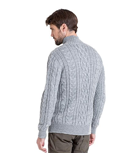 WoolOvers Pull irlandais en maille torsadée à col zippé - Homme - Pure laine Flannel Grey