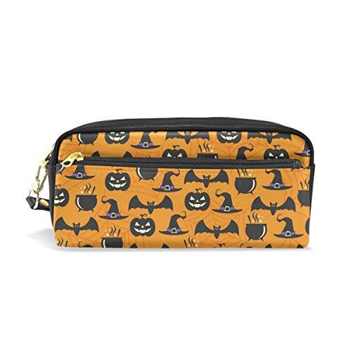 ments Portable Schutzhülle Federmäppchen School Pen Taschen Stationäre (PU Leder großes Fassungsvermögen Make-up Kosmetiktasche (Halloween-stationär)