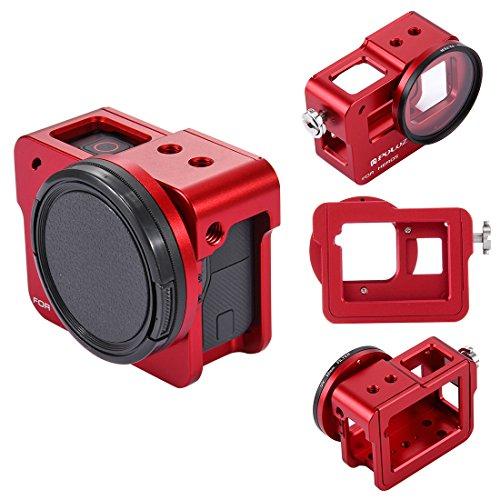 Topfroto Aluminium-Alu-Rahmen Gehäuse Gehäuse Rahmen Schutzschale mit 52 mm UV-Objektiv-Filter, rückseitige Abdeckung und Objektiv-Kappe für GoPro Hero 5 (Rot)