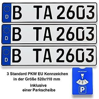TA TradeArea 3 Standard PKW EU Kennzeichen in der Größe 520x110 mm inklusive Einer Parkscheibe