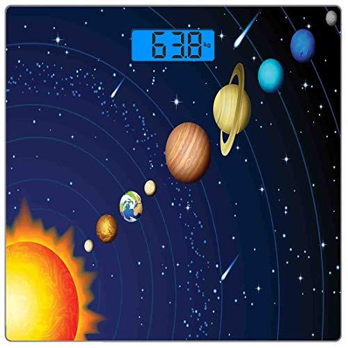 Digitale Präzisionswaage für das Körpergewicht Platz Platz Ultra dünne ausgeglichenes Glas-Badezimmerwaage-genaue Gewichts-Maße,Sonnensystem mit Sonne Uranus Venus Jupiter Mars Pluto Saturn Neptun Bil