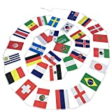 Banderines de la Copa Mundial de la FIFA de la Federación de Rusia 2018, de los 32 equipos de fútbol. Guantes de tela para decoración de barras, 20 x 30 cm, 11 m