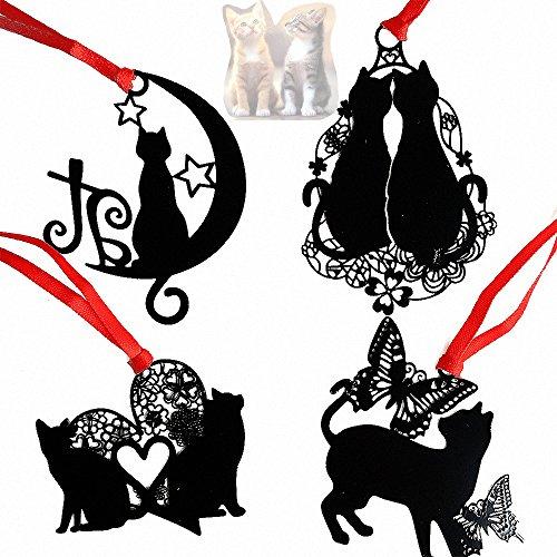 Amupper, segnalibri creativi con motivo del gatto, con nastro e busta, confezione da 4, Metallo, black, LOVE