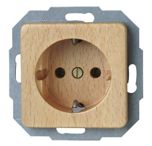 Kopp Milano Echtholz Steckdose 1-fach für den Haushalt, 250V (16A), IP20, Schutzkontakt-Steckdose, Unterputz, einfache Wandmontage, buche, 914831080 -