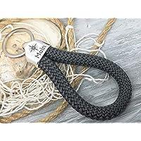 MOIN - Schlüsselanhänger Schlaufe - dunkelgrau - handgetüdelt in Hamburg - maritimes Geschenk, für einen Umzug nach Norddeutschland oder an die Küste