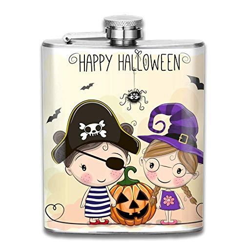 Halloween Karte Zwei Mädchen Schnaps Flachmann Edelstahl Schnapsflaschen Auslaufsicher Männer 7 Unze
