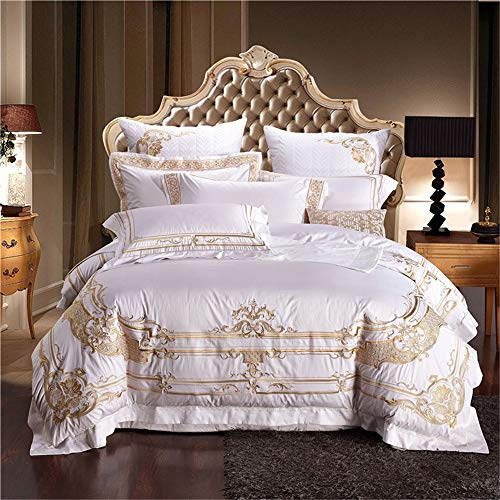 RENYAYA Duvet Cover Bedding Set ägyptische Baumwolle Royal Stickerei Textil Bedsheet Pillowcase Queen King Size,4Pcsbedlinen,220 * 240cm - Ägyptische Stickerei Designs
