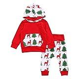 Hirolan Baby Strampler Neugeboren Babykleidung Säugling Baby Junge Mädchen Hirsch Pfeil Kapuzenpullover Lange Hülse Tops Täglich Hose Mode Outfits Kleider Set (70cm, Rot)