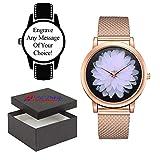Reloj Grabado Personalizado, Correa de Metal Dorado con Cara de Flor día de la Madre, Navidad o un Regalo