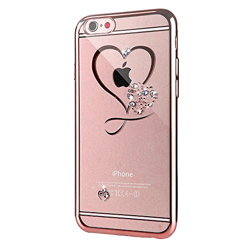 iPhone 6sPlus Custodia Sveglio, Soft TPU Gel Cover per iPhone 6Plus, MAOOY Shell Placcatura Edge in Lucido di Cristallo di Scintillio Strass Shock Absorption Protettiva Trasparente Ultra Sottile Chic  Rose Cuore Love