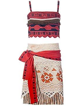 ReliBeauty Girls Dress Vaiana Ragazze Abito Digitale Senza Maniche Vestiti Moana Principessa Costumi Vestire Top...