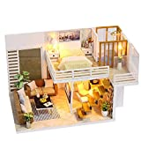 Hunpta@ Miniatur Haus, 3D Holz DIY Möbel LED Haus Puzzle Dekorieren Kreative Geschenke (A)