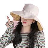 ZJWP Übergroße Cap doppelseitige Sonnenhut-Sommer-Sonnenschutzmaske für Frauen