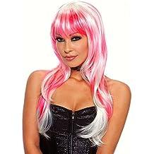 Peluca inusual de color rosa-blanco CANDY, pelo largo Erotic Fantasy
