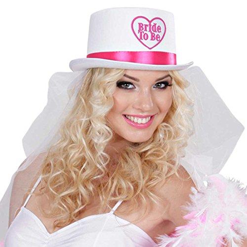 NET TOYS Bride To Be - Zylinder mit Brautschleier Junggesellinnenabschied Hut mit Schleier JGA Kopfschmuck Braut Haarschmuck Junggesellinnenabschied Zubehör Hochzeit Kostüm Accessoire