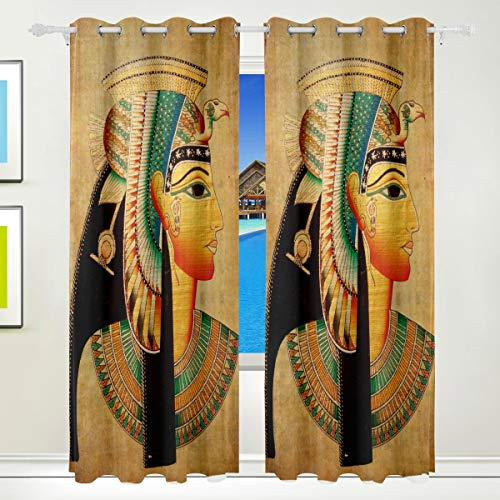 XiangHeFu Morden Blackout Vorhänge mit Tülle Top Art Ancient Egypt Portrait Vorhänge Set von 2 Panels, jeweils 55W x 84L Zoll für Zuhause Wohnzimmer Schlafzimmer Büro Portrait Panel
