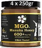 BEE NATURAL Manuka Honig / Miel de Manuka MGO 600+ 1000gr (= 4 x 250gr). MANUKA HONIG IN EINEM ECHTGLAS GLAS.