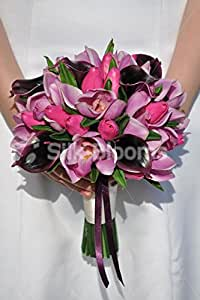Dark Burgundy, motivo: Calla, con decorazione a gigli, colore rosa orchidea & tulipani Bridal Wedding Bouquet