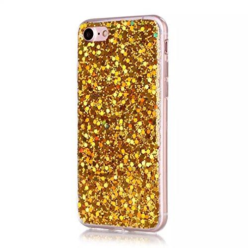iPhone 7 Hülle, Vandot Transparent Glitzer Diamant Schutzhülle für iPhone 7 Handyhülle Glitter Bling Shining Luxus Flüssiges Liquid TPU Silikon Zurück Case Cover Dynamisch Treibsand Fließen Schwimmend Sequins Gold