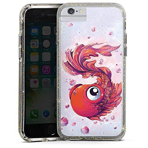 Apple iPhone 8 Bumper Hülle Bumper Case Glitzer Hülle Fisch Goldfisch Comic Bumper Case Glitzer gold