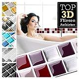 Grandora 7 Stück 25,3 x 3,7 cm rot beige Silber Fliesenaufkleber Design 19 I 3D Mosaik Fliesenfolie Küche Bad Wandaufkleber Fliesensticker Fliesendekor W5423