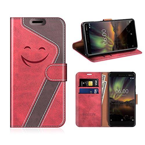 MOBESV Smiley Nokia 6 2018 Hülle Leder, Nokia 6.1 Tasche Lederhülle/Wallet Case/Ledertasche Handyhülle/Schutzhülle für Nokia 6.1 / Nokia 6 2018, Rot/Dunkel Violett