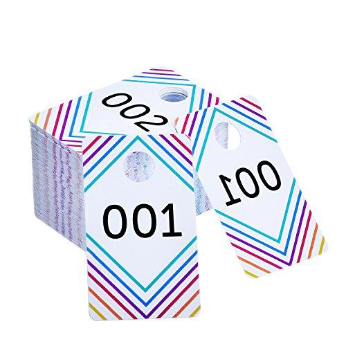frienda 100Stück Live Verkauf Anzahl Tags Kunststoff mit normalen und umgekehrt Mirroring Zahlen 100aufeinander folgenden Zahlen, plastik, Mehrfarbig, 001 - 100