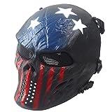 HCFKJ Airsoft Paintball Full Face Schädel Skelett CS Maske Tactical Military Halloween (D-BLAU)