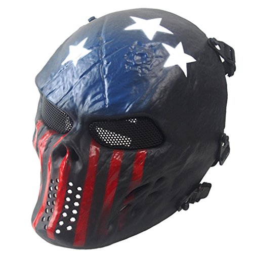 HCFKJ Airsoft Paintball Full Face Schädel Skelett CS Maske Tactical Military Halloween (D-BLAU)