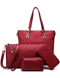 LACIRA Women's Combo Of Shoulder Bag, Sling Bag, Satchel, Card Holder - Red (Set of 4)