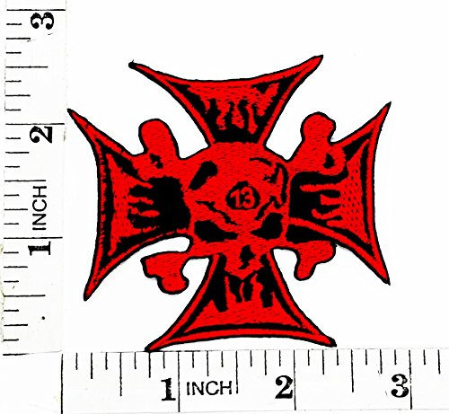 Red Lucky 13 Skull Rider Biker Motorcycle Patch Hand Embroidered Iron-on And Sew-on Symbol Jacket T-shirt Patches Applique Accessories (Red Iron Skull)