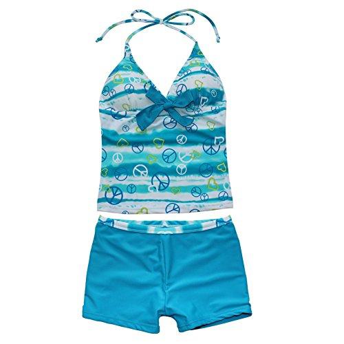 iiniim Kinder Mädchen Badeanzug 2pcs Bademode Set Polka Dots Tankini mit Shorts Blau 146-152/ 11-12 Jahre (Tankini Dot Badeanzug)