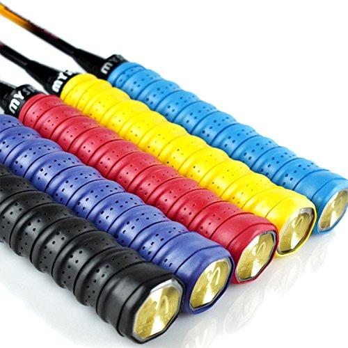 euhuton 5 Stück Anti Rutsch Overgrip Band Griffbänder Absorptionsmittel Griff für Badminton Tennis Squash Schläger gelb?rot, schwarz?blau, violett -