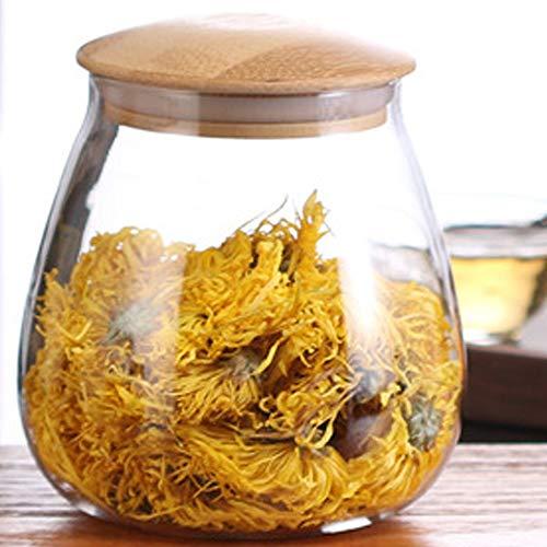 TAMUME 800ml Vorratsdosen Glas mit Deckel Glas-Küche-Aufbewahrungsglas mit Holzdeckel, Tee-Kanister oder Kaffeebohnenbehälter (800ml)