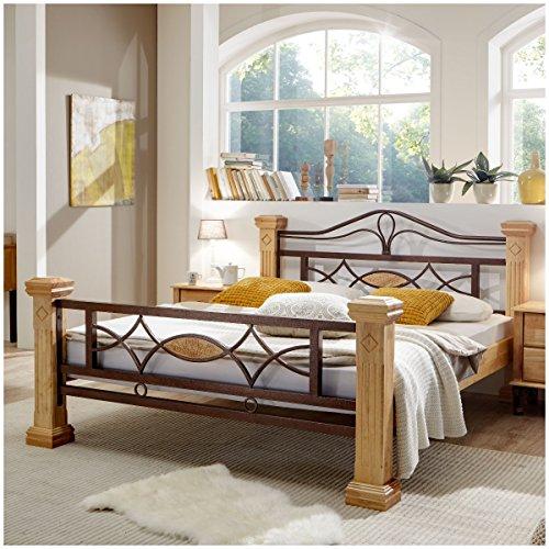 Massiv Holz Bett ROM Holzbett Natur Farbe in Buche 180x200cm 180 Ehebett Doppelbett (Rustikales Bett Kopfteil)