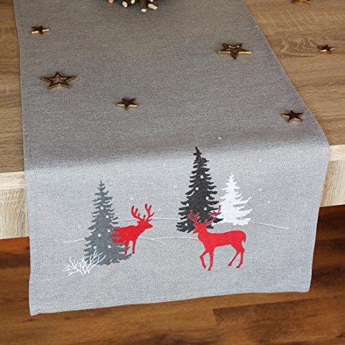 """Moderne Serie """" HIRSCHE IM WALD """" in hellgrau mit zauberhaften Rentieren und Tannenbäumen in rot anthrazit und creme verziert - ein echtes Schmuckstück - Winter Weihnachten (Tischläufer 40x90 cm)"""