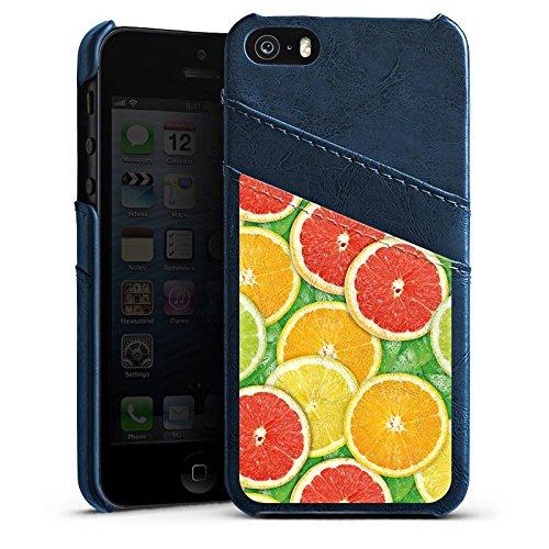 Apple iPhone 5 Housse Étui Silicone Coque Protection Citron Orange Étui en cuir bleu marine
