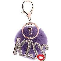 ZPL Palla portachiavi con portachiavi Blingbling bacio labbro auto portachiavi donne borsa di pelliccia di coniglio PrettyMeet , purple