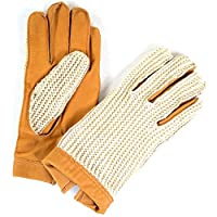 "Ladies Tan Leather Crochet Driving Gloves by Bushga - Medium/Large (7"" - 7.5"")"