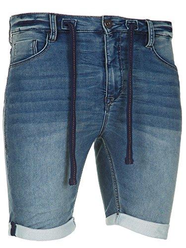 Sublevel Herren Jogg Jeans Shorts kurze Hose Bermuda Denim Sweatpants Joggjeans Vintage Used Look (Middle Blue - H-60688/KM48, W31)