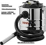 ROWI ASCHESAUGER RAS1200/18/1 F Inox Basic + mit Filtersättigungsanzeige, integriertes Vibrationssystem