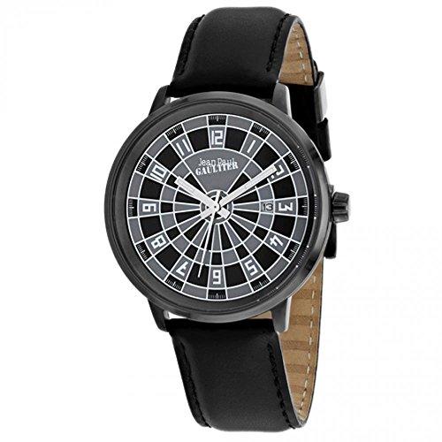 Jean Paul Gaultier Cible Homme 42mm Bracelet Cuir Noir Quartz Montre 8504804
