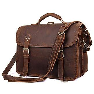 """517Wx p6 LL. SS324  - Bolso de cuero para hombre Crazy Horse Vintage Maletín de cuero Bolso grande 16"""" Bolsa para laptop"""