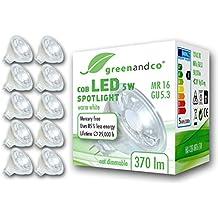 10 unidades de spots LED greenandco® MR16 GU5.3 5W (corresponde a 30-35W) 370lm 3000K (blanco cálido) COB LED 38° 12V AC/DC