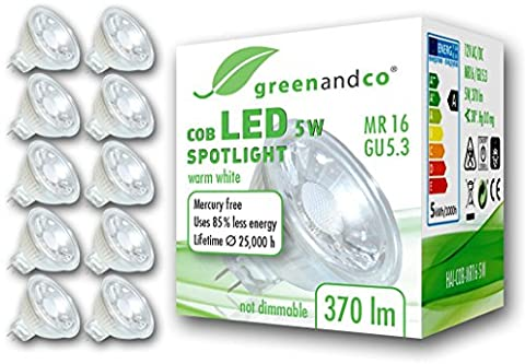 10x greenandco® MR16 GU5.3 LED Spot 5W replaces 30-35W 370lm 3000K (warm white) 38° beam angle 12V AC/DC glass body with protective glass