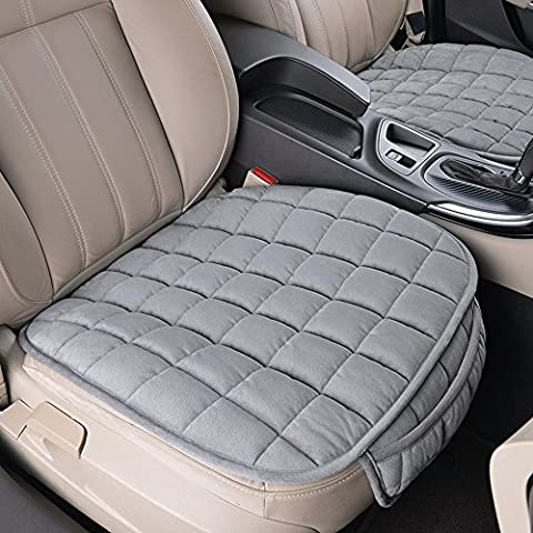 BEVERLY MEMORY Universal Grid Pattern 1PC Front Row Car Seat Cushion For Spring Summer Autumn Winter (Grey)