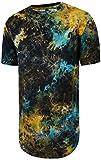 Pizoff Unisex Hip Hop Design langes T Shirts im Distressed-Look mit Batik Galaxy Print Y1726-08-XL