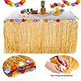 Oyfel. hawaïenne Luau Table Jupe Hawaiian Luau Hibiscus Herbe Jupe de Table avec Fleurs en Soie Faux pour BBQ Tropical Garden Beach Summer Tiki décorations de fête Or Jupe de Table Decoration Hawai