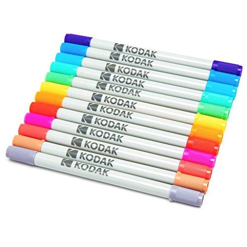 Kodak Farbige Markierstifte mit Feiner und Meißel-Doppelspitze für 2x3 Fotopapier (Printomatic, Mini Shot, Mini 2) – 12er-Packung